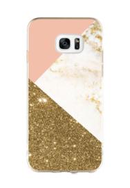 Galaxy S7 Edge Geometrisch TPU Hoesje Triple Roze / Goud