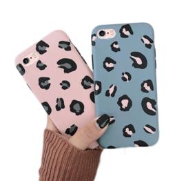 iPhone 6 / 6S Soft TPU Hoesje Luipaard Print Blauw / Roze