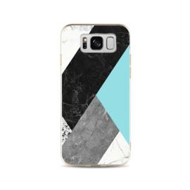 Galaxy S8 Geometrisch TPU Hoesje Marmer Zwart / Groen