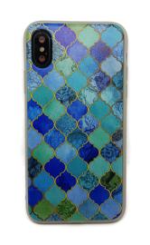 iPhone X / Xs Soft TPU Hoesje Marmer Design Mozaïek Ruiten