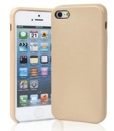 iPhone 5 / 5S / SE Leren Back Cover Hoesje Goud / Roze