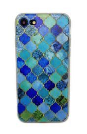 Iphone 7 / 8 Soft TPU Hoesje Marmer Design Mozaïek Ruiten