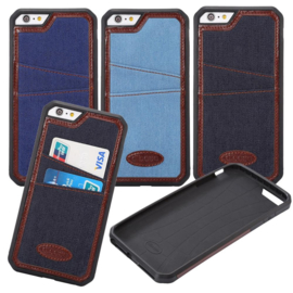 iPhone 6 Plus / 6S+ Denim Jeans Back Cover Hoesje Met Pasjesvakjes