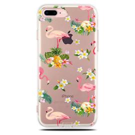 iPhone 7 Plus / 8 Plus Soft TPU Hoesje Flamingo Bloemen Print