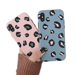 iPhone Xr Soft TPU Hoesje Luipaard Print Blauw / Roze