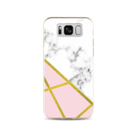 Galaxy S8 Plus Geometrisch TPU Hoesje Marmer Wit / Roze / Goud