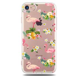 iPhone 7 / 8 Soft TPU Hoesje Flamingo Bloemen Print