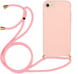 iPhone 6 Plus / 6S+ Crossbody TPU Hoesje met Koord Roze