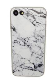 Iphone 7 / 8 Soft TPU Hoesje Marmer Design Zwart & Wit