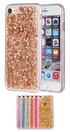 Iphone 7 / 8 TPU Bling Glitterhoesje Bladgoud - Look