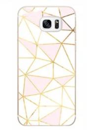 Galaxy S7 Edge Geometrisch TPU Hoesje Driehoek Roze & Wit