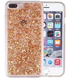 Iphone 7 Plus / 8 Plus TPU Bling Glitterhoesje Bladgoud - Look
