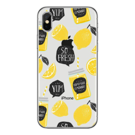 iPhone Xs Max Soft TPU Hoesje So Fresh Lemonade Print