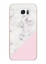 Galaxy S7 Edge Geometrisch TPU Hoesje Marmer Wit / Roze