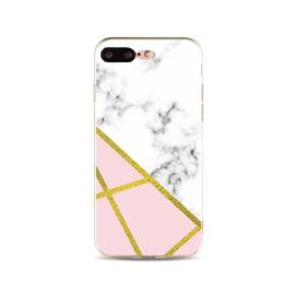 iPhone 7 Plus / 8 Plus Geometrisch TPU Hoesje Marmer Wit / Roze / Goud