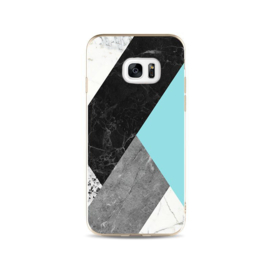 Galaxy S7 Edge Geometrisch TPU Hoesje Marmer Zwart / Groen