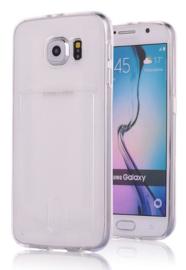 Galaxy S6 Edge TPU Hoesje Met Pasjesvakje Transparant / Roze