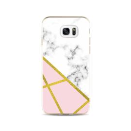 Galaxy S7 Edge Geometrisch TPU Hoesje Marmer Wit / Roze / Goud