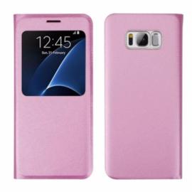 Galaxy S8 Window View Flip Cover Zalm Roze