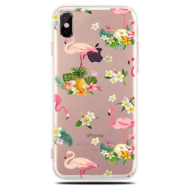 iPhone X / Xs Soft TPU Hoesje Flamingo Bloemen Print