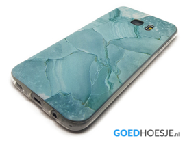 Galaxy S7 Edge Soft TPU Hoesje Marmer Design Azuurblauw