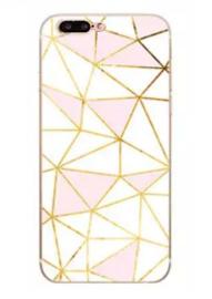 iPhone 7 Plus / 8 Plus Geometrisch TPU Hoesje Driehoek Roze & Wit