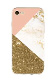 iPhone 7 / 8 Geometrisch TPU Hoesje Triple Roze / Goud