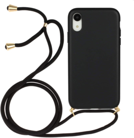 iPhone Xr Crossbody TPU Hoesje met Koord Zwart