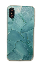 iPhone X / Xs Soft TPU Hoesje Marmer Design Azuurblauw