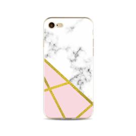 Iphone 6 / 6S Geometrisch TPU Hoesje Marmer Wit / Roze / Goud