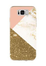 Galaxy S8 Plus Geometrisch TPU Hoesje Triple Roze / Goud