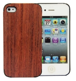 Iphone 4 / 4S Echt Houten Hoesje - Wood Case - 2 Houtsoorten