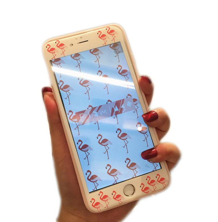 iPhone 7/8 Tempered Glass Protector Met Print - Flamingo
