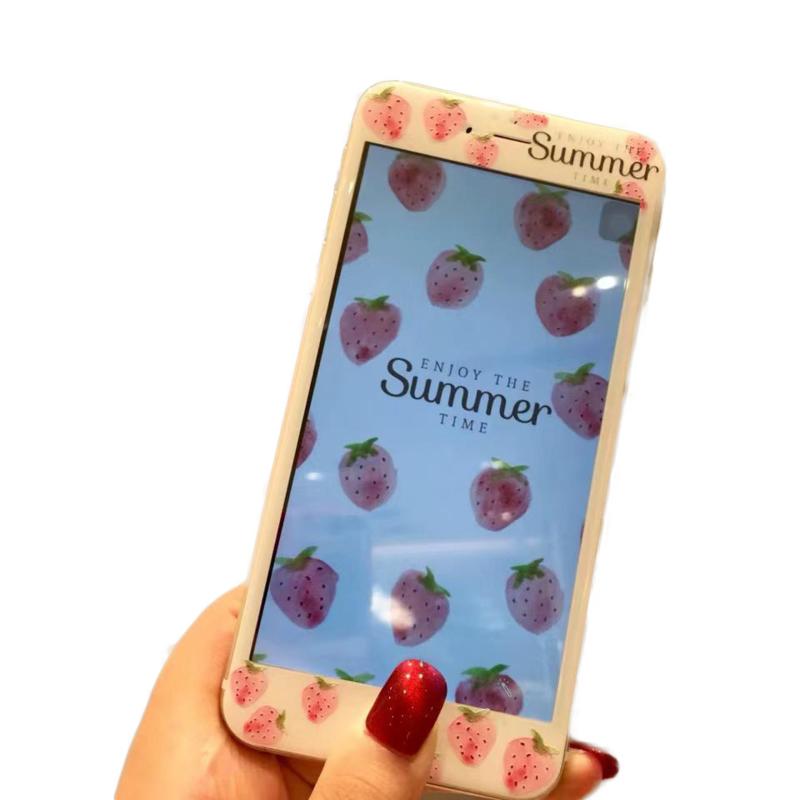 iPhone 7/8 Tempered Glass Protector Met Print - Aardbei