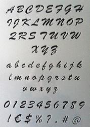 Sierletters sjablonen set 2.5cm hoog A3 sheet