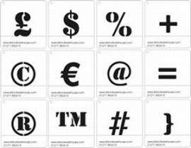25mm Symbolen Sjablonen Stencil Font - Set B