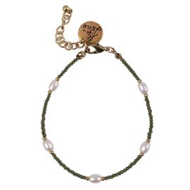 Happy Beads Bracelet - Green & Pearl