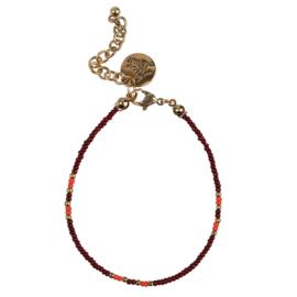 Happy Beads Bracelet - Wine Red