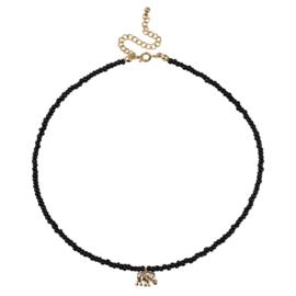 Necklace - Black - Elephant