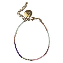 Happy Beads Bracelet - Multicolor & Pink