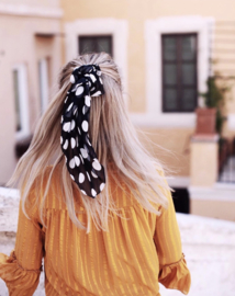 Hair SCARF Chiffon Dots- Black