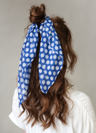 Hairscarf Cniffon Dots- Blue
