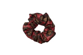 Party animal- glitter leopard scrunchie- red