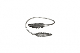 """Two feathers come together"" Cuff-silver"