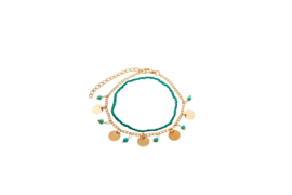 Double layered anklet - Turquoise beads & golden coins