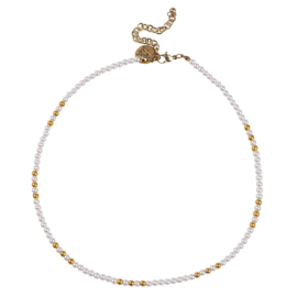 Happy Beads Necklace - White & Gold