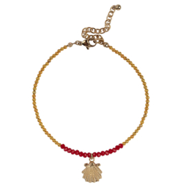Anklet Shell - Gold & Coral