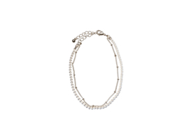 Double Chains Anklet - Silver