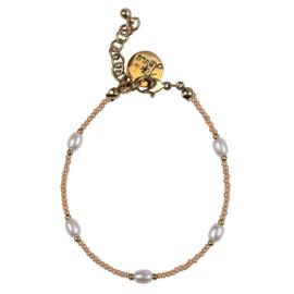 Happy Beads Bracelet -  Beige & Pearl