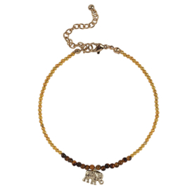 Anklet Elephant - Gold & Brown